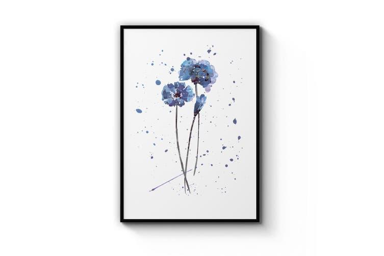 Scandi Blue Flower Design Minimal Kitchen Wall Art