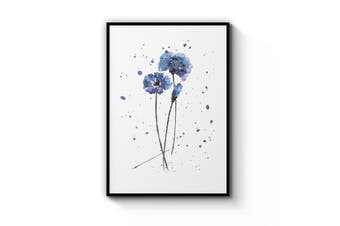 Scandi Blue Flower Wall Art