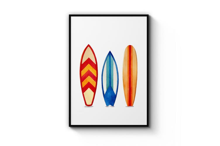 Surfboard Watercolour Wall Art