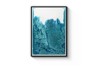 Teal Ink Minimal Ink Painting Blue Wall Art