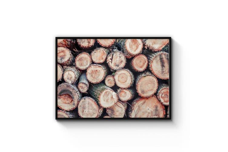 Piled Wood Photograph Living Room Cabin Wall Art