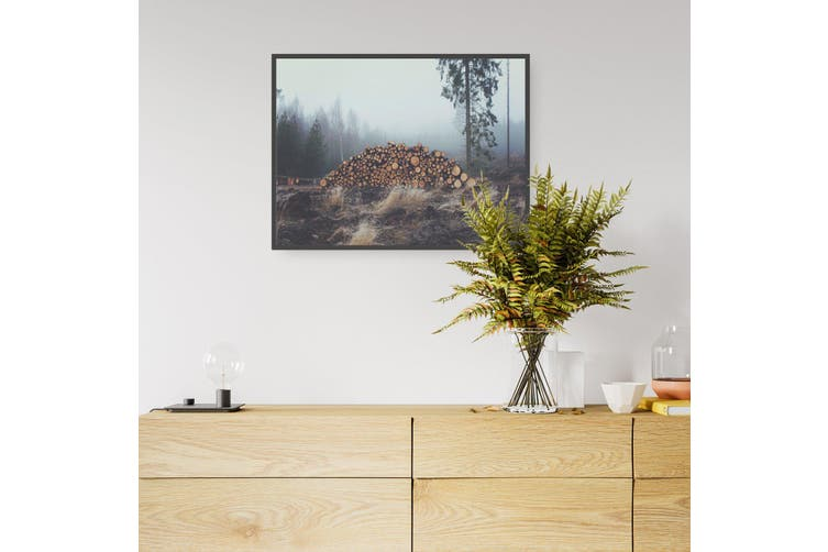 Sad Trees Wood Piles Photograph Wall Art