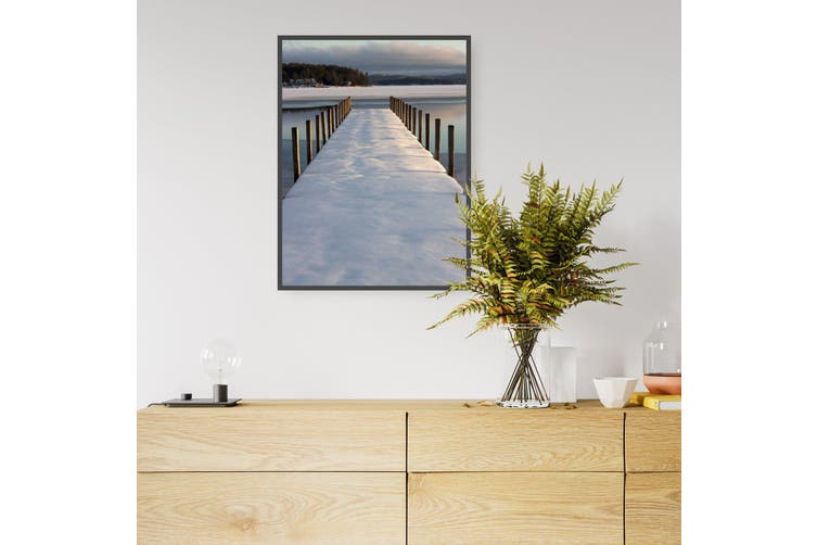 Snow Covered Pier Landscape Photograph Wall Art