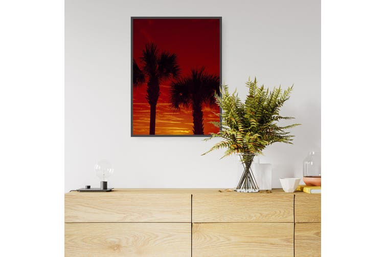 Sunset Palm Trees Coastal Photograph Wall Art