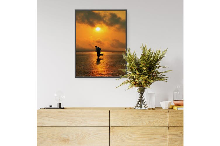 Sunset Fisherman Coastal Photograph Wall Art