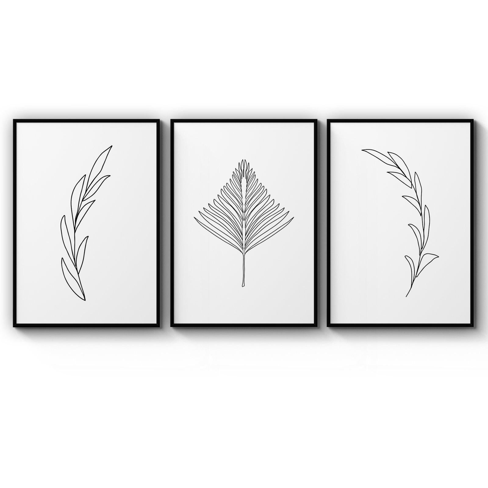 Set Of Minimal Plant Line Drawings Wall Art Matt Blatt