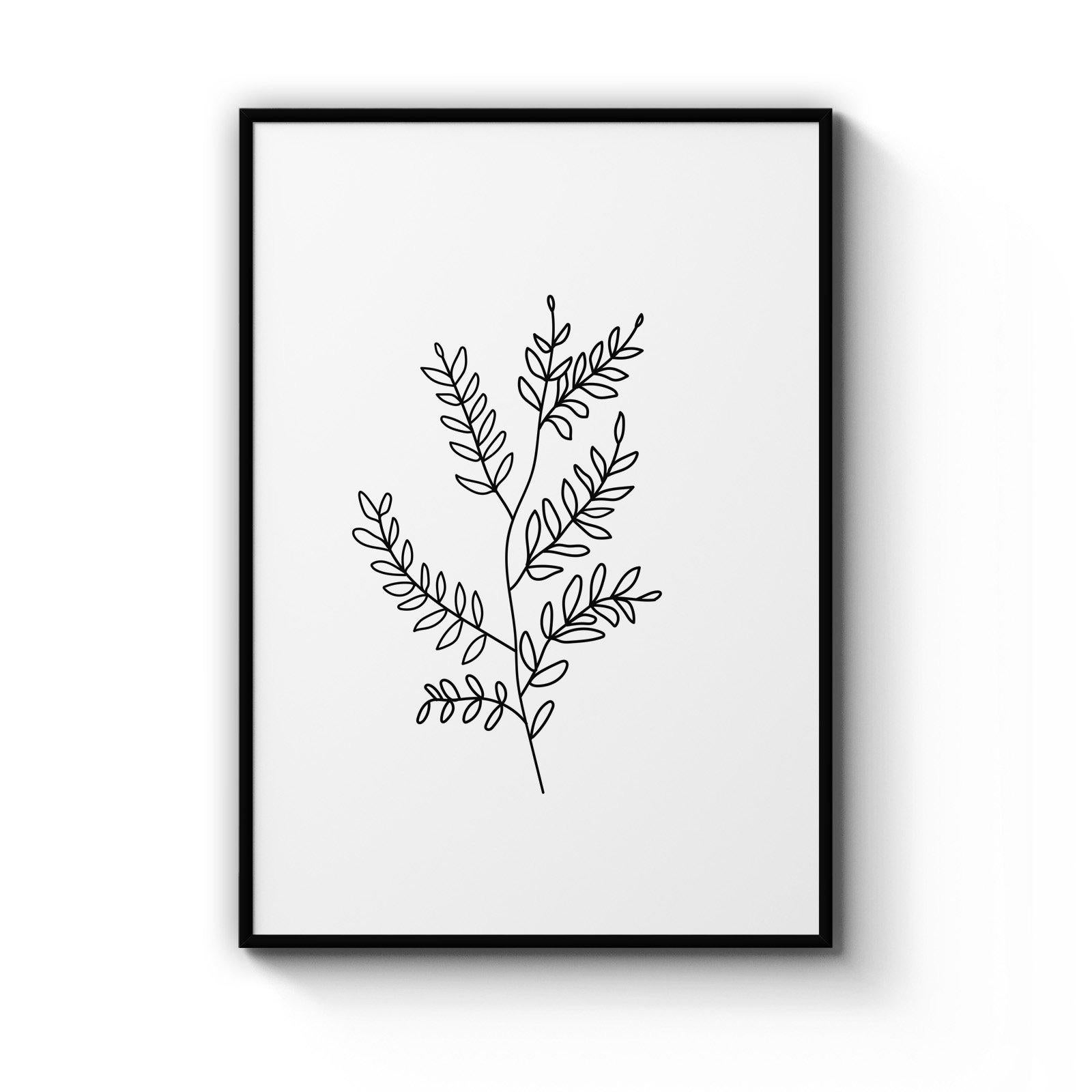 Twig Line Drawing Minimal Plant Wall Art Matt Blatt