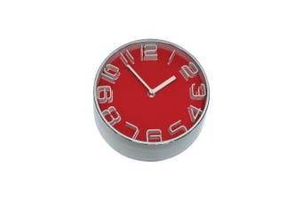 Premium 22Cm Red Contrast Clock Metal In Red