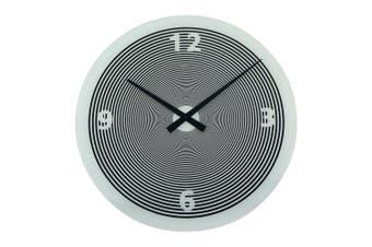 Degree Spin White Glass Clock 50Cm Glass In White