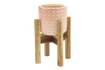 Ecology Cove Planter With Stand Mushroom 31Cm Earthy Terracotta And Acacia Wood In Pink