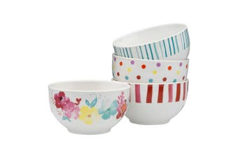 Symphony Summer Bloom Set Of 4 Rice Bowls 10.5Cm Porcelain In Multicolour