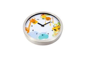 Tik Tok Animals Clock 30Cm Metal In Silver