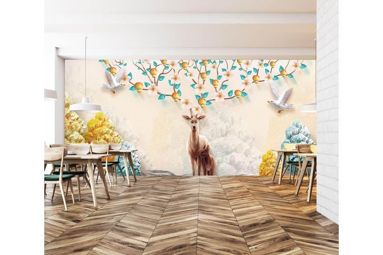 3D Home Wallpaper Flower Deer 023 BCHW Wall Murals Woven paper (need glue), XXXL 416cm x 254cm (WxH)(164''x100'')