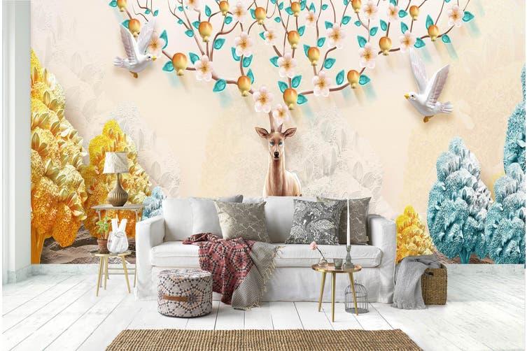 3D Home Wallpaper Flower Deer 023 BCHW Wall Murals Self-adhesive Vinyl, XXXL 416cm x 254cm (WxH)(164''x100'')