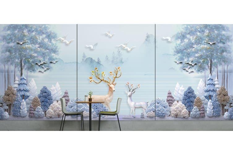 3D Home Wallpaper Forest Deer 022 BCHW Wall Murals Woven paper (need glue), XXXXL 520cm x 290cm (WxH)(205''x114'')
