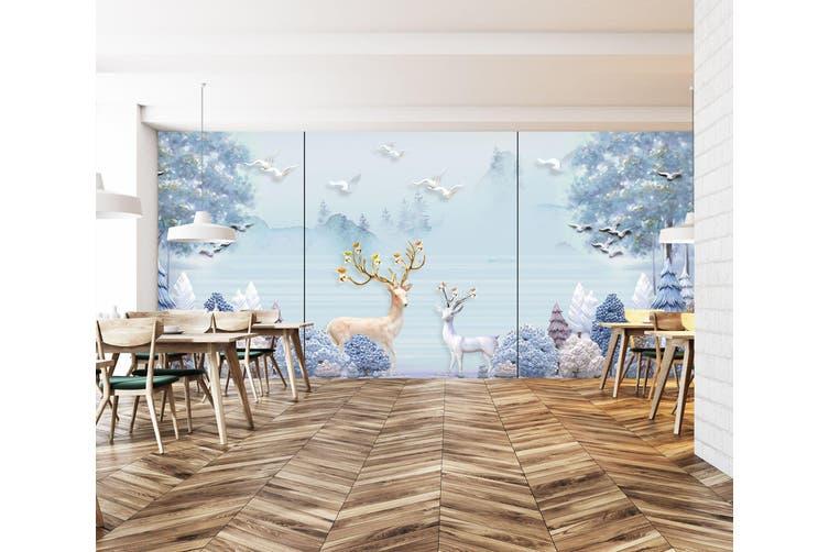 3D Home Wallpaper Forest Deer 022 BCHW Wall Murals Self-adhesive Vinyl, XXL 312cm x 219cm (WxH)(123''x87'')