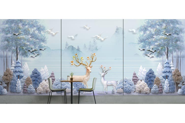 3D Home Wallpaper Forest Deer 022 BCHW Wall Murals Self-adhesive Vinyl, XXXL 416cm x 254cm (WxH)(164''x100'')