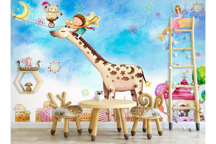3D Home Wallpaper Giraffe Paradise 020 BCHW Wall Murals Self-adhesive Vinyl, XXXL 416cm x 254cm (WxH)(164''x100'')