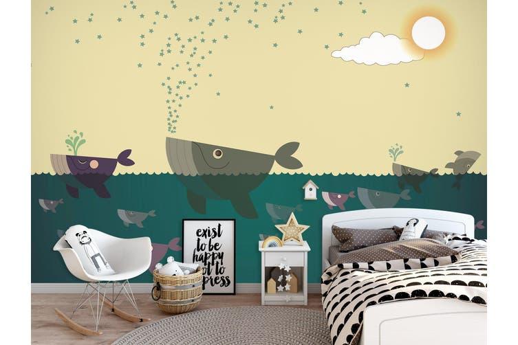 3D Home Wallpaper Painted Fish 0X BCHW Wall Murals Woven paper (need glue), XL 208cm x 146cm (WxH)(82''x58'')