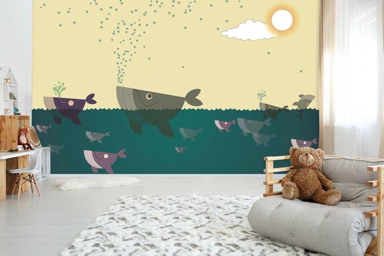 3D Home Wallpaper Painted Fish 0X BCHW Wall Murals Self-adhesive Vinyl, XXXL 416cm x 254cm (WxH)(164''x100'')