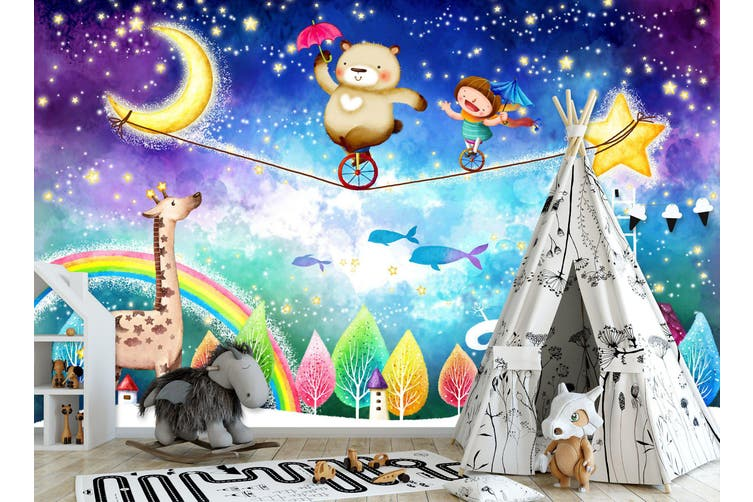3D Home Wallpaper Naughty Moonlit Night 017 BCHW Wall Murals Self-adhesive Vinyl, XXXXL 520cm x 290cm (WxH)(205''x114'')