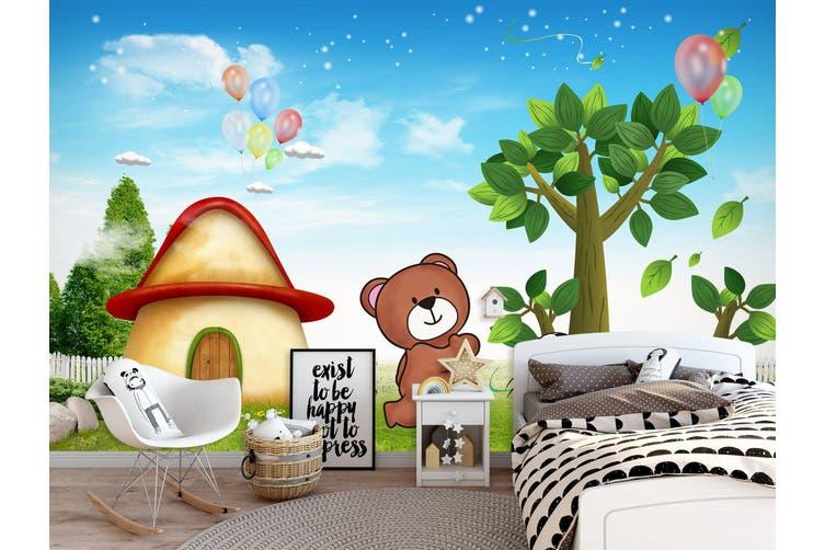 3D Home Wallpaper Mushroom Bear 014 BCHW Wall Murals Woven paper (need glue), XXL 312cm x 219cm (WxH)(123''x87'')
