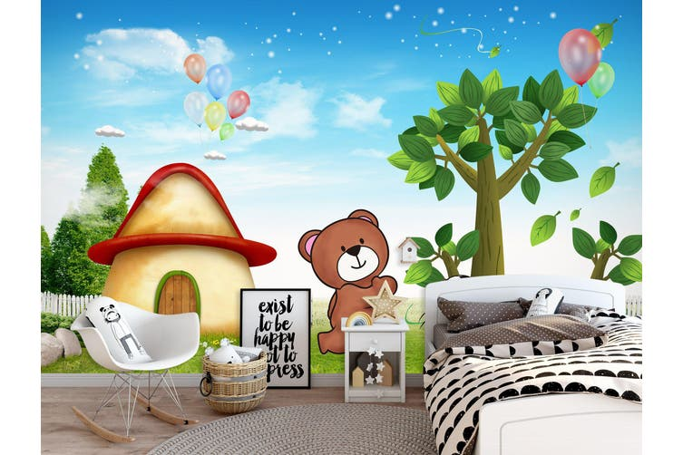 3D Home Wallpaper Mushroom Bear 014 BCHW Wall Murals Self-adhesive Vinyl, XXXL 416cm x 254cm (WxH)(164''x100'')