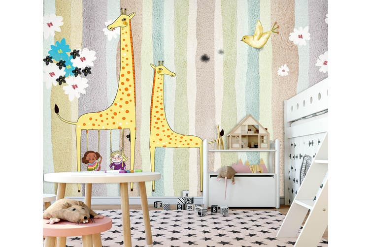 3D Home Wallpaper Yellow Giraffe 010 BCHW Wall Murals Woven paper (need glue), XXXL 416cm x 254cm (WxH)(164''x100'')