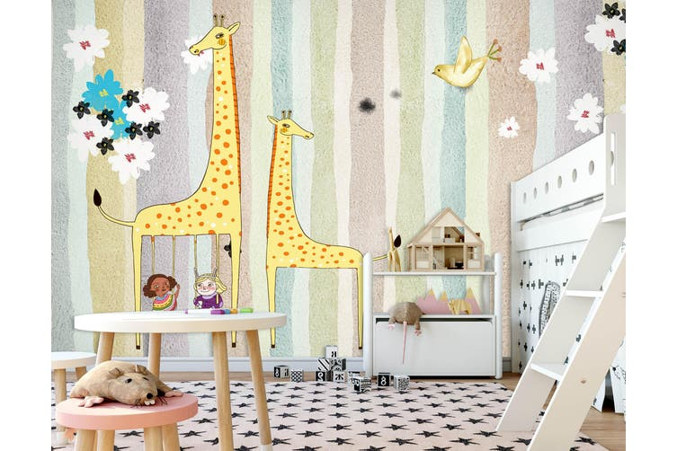 3D Home Wallpaper Yellow Giraffe 010 BCHW Wall Murals Woven paper (need glue), XXXXL 520cm x 290cm (WxH)(205''x114'')