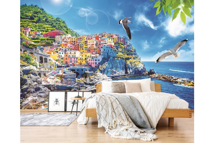 3D Home Wallpaper Seaside City 007 BCHW Wall Murals Woven paper (need glue), XL 208cm x 146cm (WxH)(82''x58'')