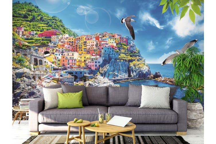 3D Home Wallpaper Seaside City 007 BCHW Wall Murals Self-adhesive Vinyl, XXL 312cm x 219cm (WxH)(123''x87'')