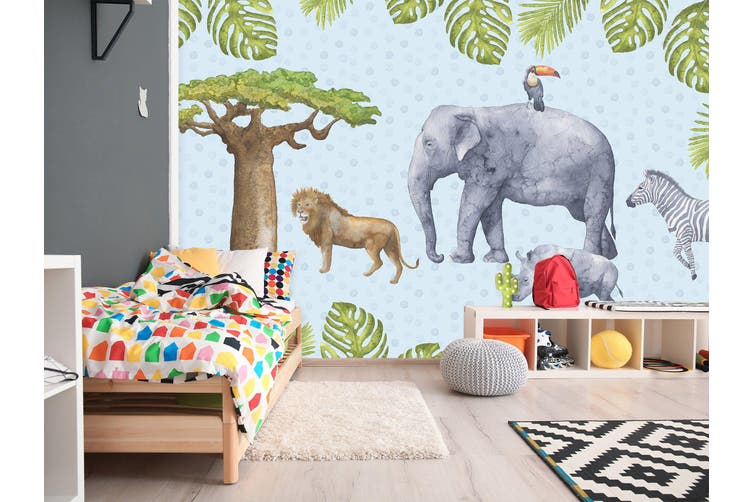 3D Home Wallpaper Elephant Lion 006 BCHW Wall Murals Self-adhesive Vinyl, XXXL 416cm x 254cm (WxH)(164''x100'')