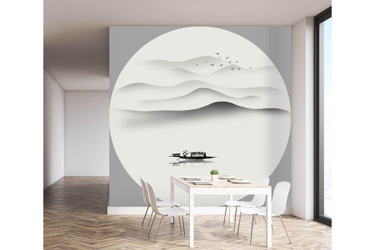 3D Home Wallpaper Landscape Boat 002 BCHW Wall Murals Self-adhesive Vinyl, XL 208cm x 146cm (WxH)(82''x58'')