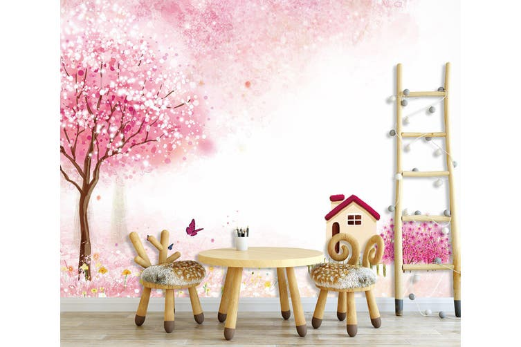 3D Home Wallpaper Peach Blossom World 1727 BCHW Wall Murals Woven paper (need glue), XL 208cm x 146cm (WxH)(82''x58'')
