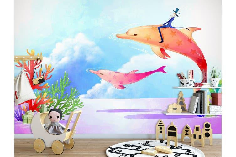 3D Home Wallpaper Orange Dolphin 1726 BCHW Wall Murals Self-adhesive Vinyl, XXXL 416cm x 254cm (WxH)(164''x100'')