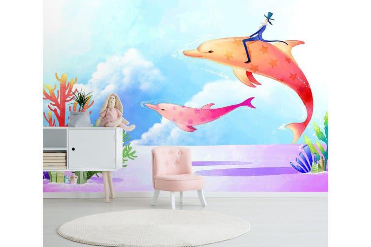 3D Home Wallpaper Orange Dolphin 1726 BCHW Wall Murals Self-adhesive Vinyl, XXXXL 520cm x 290cm (WxH)(205''x114'')