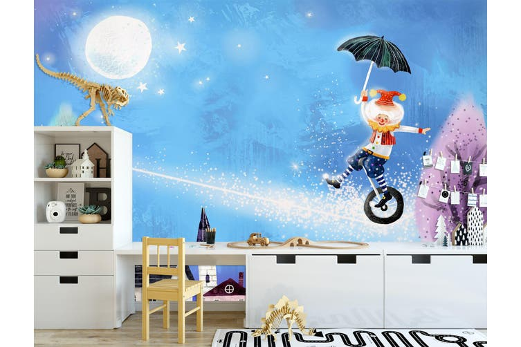 3D Home Wallpaper Moonlight Unicycle 1725 BCHW Wall Murals Self-adhesive Vinyl, XL 208cm x 146cm (WxH)(82''x58'')