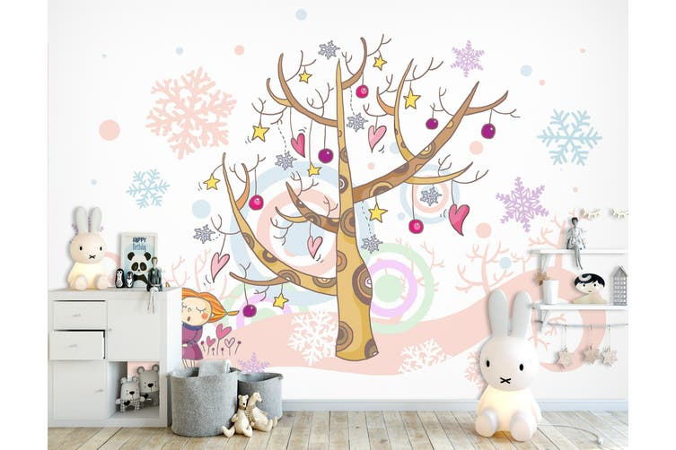3D Home Wallpaper Christmas Tree 1724 BCHW Wall Murals Self-adhesive Vinyl, XXXXL 520cm x 290cm (WxH)(205''x114'')