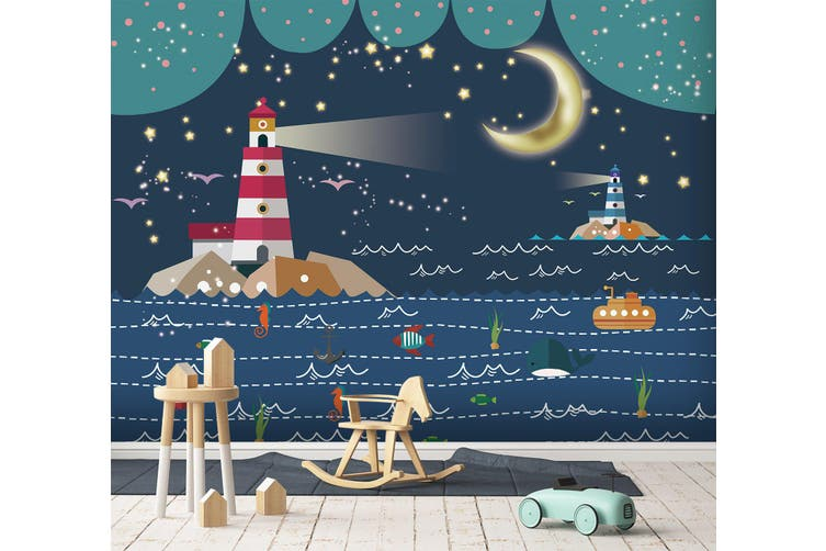3D Home Wallpaper Moon Lighthouse 1720 BCHW Wall Murals Woven paper (need glue), XXL 312cm x 219cm (WxH)(123''x87'')