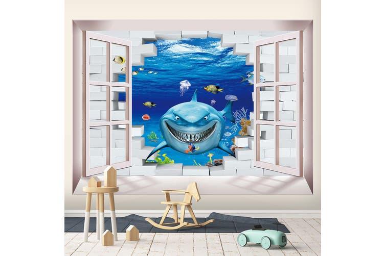 3D Home Wallpaper Evil Shark 1716 BCHW Wall Murals Woven paper (need glue), XXL 312cm x 219cm (WxH)(123''x87'')