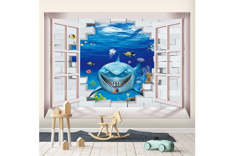 3D Home Wallpaper Evil Shark 1716 BCHW Wall Murals Self-adhesive Vinyl, XXL 312cm x 219cm (WxH)(123''x87'')