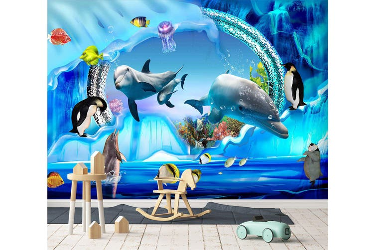 3D Home Wallpaper Happy Dolphin 1715 BCHW Wall Murals Woven paper (need glue), XXXXL 520cm x 290cm (WxH)(205''x114'')