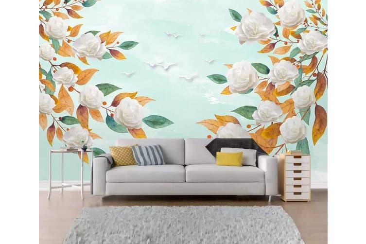 3D Home Wallpaper White Flowers 1297 BCHW Wall Murals Woven paper (need glue), XXXXL 520cm x 290cm (WxH)(205''x114'')