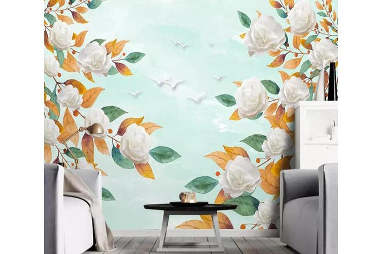 3D Home Wallpaper White Flowers 1297 BCHW Wall Murals Self-adhesive Vinyl, XL 208cm x 146cm (WxH)(82''x58'')