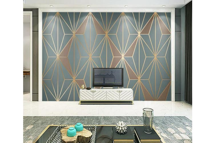 3D Home Wallpaper Golden Lines 1293 BCHW Wall Murals Woven paper (need glue), XXL 312cm x 219cm (WxH)(123''x87'')