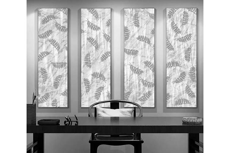 3D Home Wallpaper Gray Leaves 1291 BCHW Wall Murals Woven paper (need glue), XL 208cm x 146cm (WxH)(82''x58'')