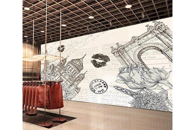 3D Home Wallpaper Grey Tower 1289 BCHW Wall Murals Woven paper (need glue), XXL 312cm x 219cm (WxH)(123''x87'')