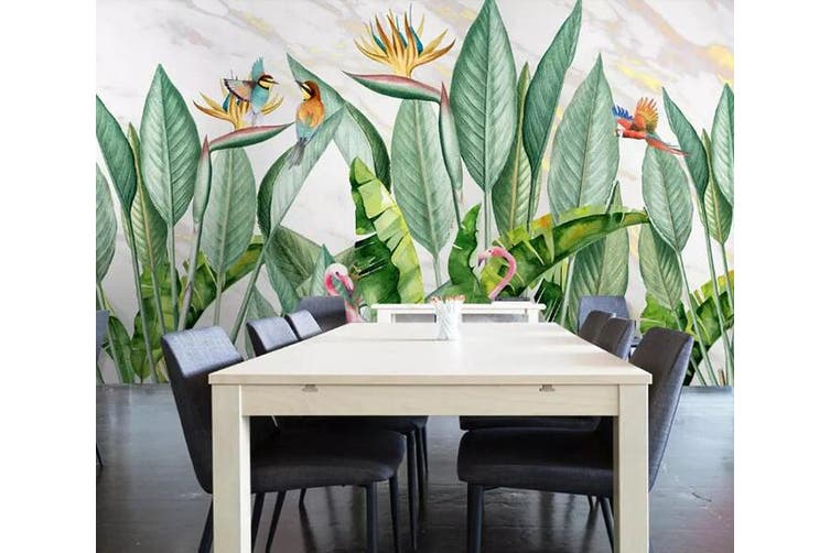 3D Home Wallpaper Flamingo Green Grass 1286 BCHW Wall Murals Woven paper (need glue), XXL 312cm x 219cm (WxH)(123''x87'')