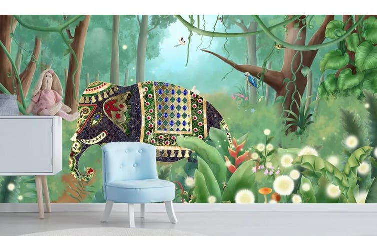 3D Home Wallpaper Elephant Woods 1278 BCHW Wall Murals Woven paper (need glue), XXL 312cm x 219cm (WxH)(123''x87'')