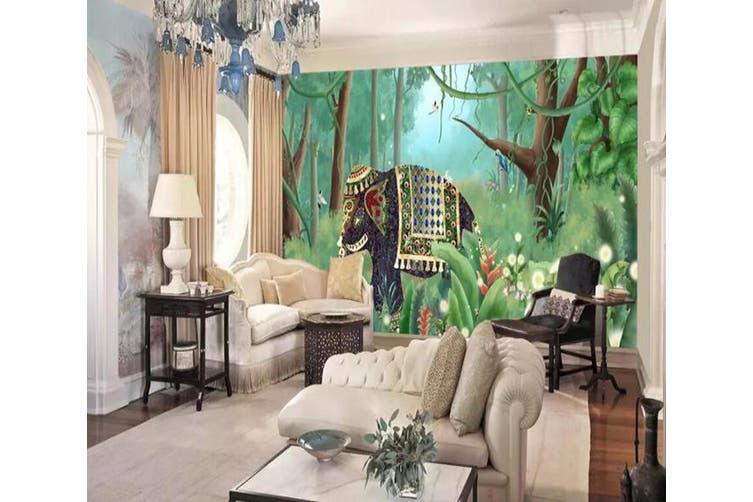 3D Home Wallpaper Elephant Woods 1278 BCHW Wall Murals Self-adhesive Vinyl, XXXL 416cm x 254cm (WxH)(164''x100'')